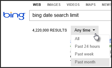 Bing Date Search Limit