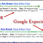 Google UI Experiment with cache under tiny triangle like Bing